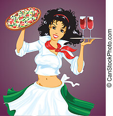 Chica italiana con pizza y vino