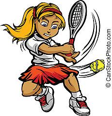 Chica jugadora de tenis balanceando raqueta en la pelota