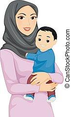 Chica mamá musulmana ilustración de bebés