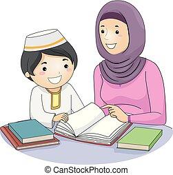 Chica mamá niño niño niño musulmán ilustración de estudio