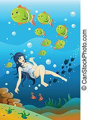 Chica nadando en el océano
