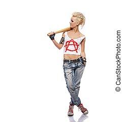 Chica punk con un bate
