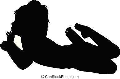 Chica recostada en vector de silueta corporal