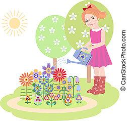 Chica regando flores