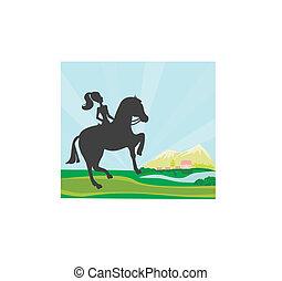Chica saltando con caballo