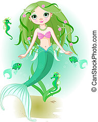 Chica sirena bajo el mar