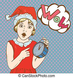 Chica sosteniendo el reloj y esperando la Navidad o el año nuevo. Mira con 5 minutos para la medianoche. Ilustración de vectores en el estilo de arte pop cómico retro