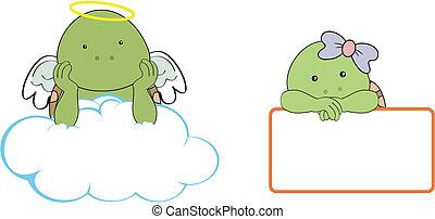 Chica tortuga, ángel, copia el Cl