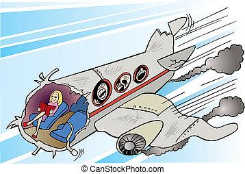 Chica tranquila y aplastamiento de avión