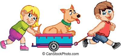 Chica y Boy tirando de una carreta con perro