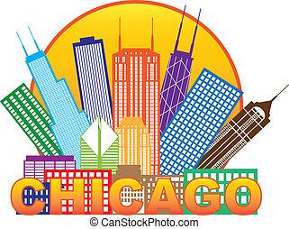 Chicago City skyline color en la ilustración del círculo