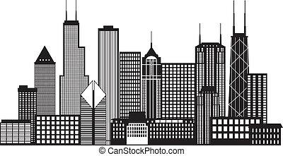 Chicago City Skyline ilustración en blanco y negro