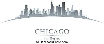 Chicago Illinois City skyline silueta fondo blanco