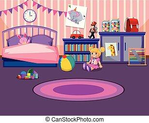 Chicas jóvenes interiores de dormitorio