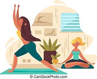 Chicas jóvenes practicando yoga
