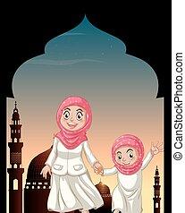 Chicas musulmanas tomándose de la mano