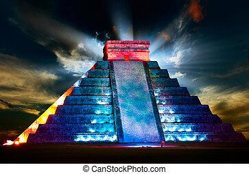 Chichen itza maya vista de la pirámide