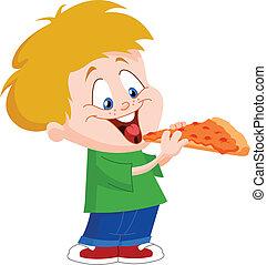 Chico comiendo pizza