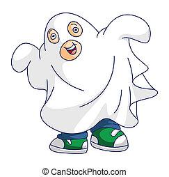 Chico con disfraz de fantasma