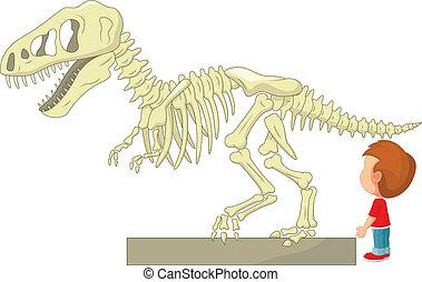 Chico con esqueleto de dinosaurio en la M