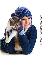 Chico con gato