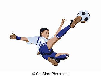Chico con pelota de fútbol, futbolista (Vector)