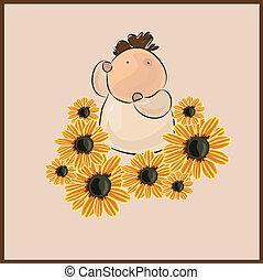 Chico con una flor