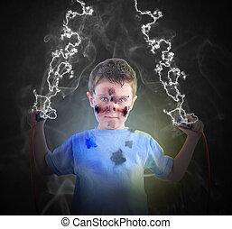 Chico de ciencias eléctricas con tapones