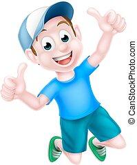 Chico de dibujos animados dando pulgares arriba