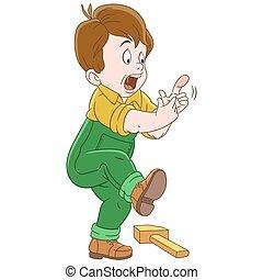 Chico de dibujos animados golpeando el dedo