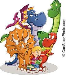 Chico de dibujos animados leyendo un libro a grandes dinosaurios.