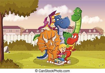 Chico de dibujos animados leyendo un libro a grandes dinosaurios en el patio trasero de una casa colorida en el barrio de los suburbios.