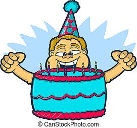 Chico del cumpleaños con torta