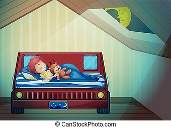 Chico durmiendo en el dormitorio
