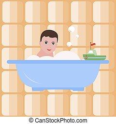 Chico en el baño. Baño. Feliz infancia. Vector