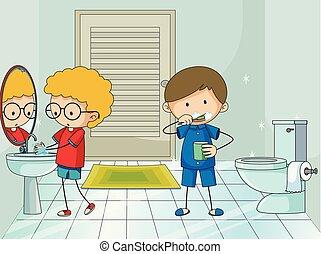 Chico en el baño