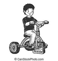 Chico en triciclo infantil con ruedas cuadradas dibujando ilustración vectorial. Imitación estilo tabla rascar. Imágenes dibujadas a mano.