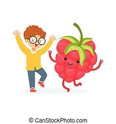 Chico feliz divirtiéndose con frambuesas frescas sonrientes, comida saludable para niños caracteres coloridos vector de ilustración