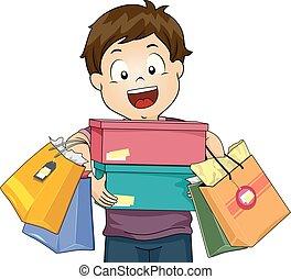 Chico feliz ilustración de compras