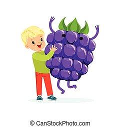 Chico feliz pasándoselo bien con frambuesas frescas, comida saludable para niños coloridos vectores de ilustración