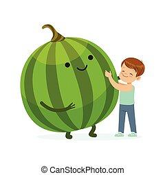 Chico feliz pasándoselo bien con sandía sonriente fresca, comida saludable para niños coloridos vector de la ilustración