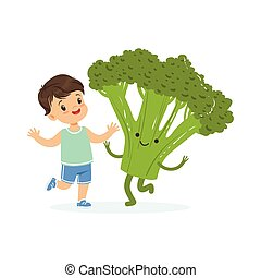 Chico feliz pasándoselo bien con vegetales frescos de brócoli sonrientes, comida saludable para niños coloridos vector de ilustración