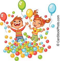 Chico feliz y chica jugando con bolas coloridas en el patio de juegos