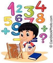 Chico haciendo matemáticas con ábaco