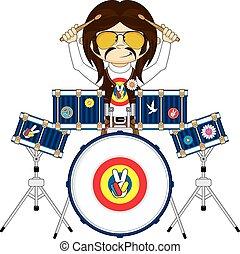 Chico hippie con tambores