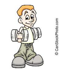 Chico joven haciendo gimnasia