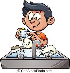 Chico lavando platos