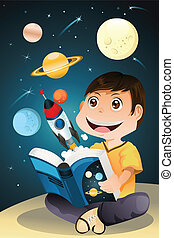 Chico leyendo el libro de astronomía