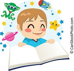 Chico leyendo libros de ciencia ficción