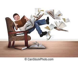 Chico leyendo libros volando en sillas blancas